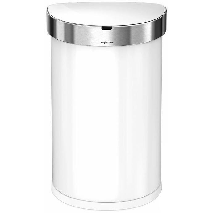 Simplehuman SEMI-ROUND 45L - white - Bezdotykový kôš