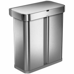 Bezdotykový kôš Simplehuman RECTANGULAR 58L triedený odpad - silver