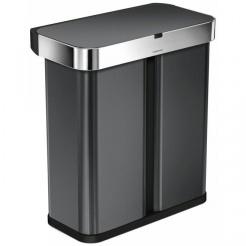 Bezdotykový kôš Simplehuman RECTANGULAR 58L triedený odpad - black