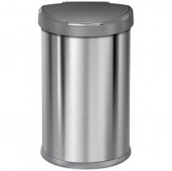 Bezdotykový kôš Simplehuman SEMI-ROUND 45L s plastovým vekom - silver